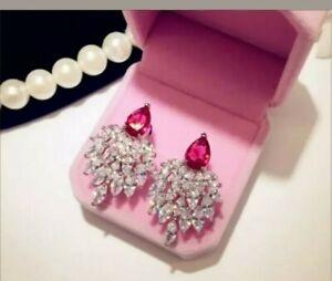3Ct Pear Cut Red Diamond Push Back Cluster Stud Earrings 18K White Gold Finish