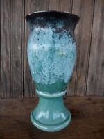 "Brush Vase USA 506 Blue Matte Black Vintage Antique pottery MCM Drip 10.5"""
