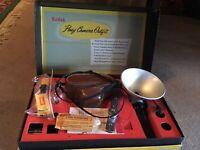 Vintage Kodak Pony Camera and Flash, Bulbs and Box and Instructions