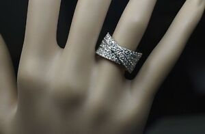 18K White Gold FG VS 2.80ct Diamond Bypass Wrap Ring Wide Heavy 13 Grams Sz 5