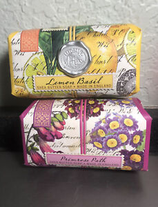 LOT OF 2 MICHEL DESIGN WORKS LARGE BAR SOAPS 9OZ - LEMON BASIL , PRIMROSE PATH