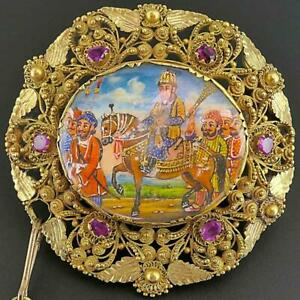 Antique MUGHAL SUBAHDAR & Horse 18k Yellow GOLD MINIATURE PAINTING 6 RUBY BROOCH