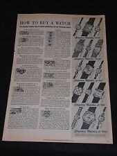 "Vintage 1951 Longines ""How To Buy A Watch"" LARGE B&W Ad"
