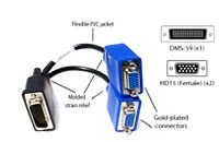 HP DMS-59 to 2x VGA Female Adapter. Like pictures. Work across two VGA monitors.