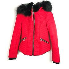 River Island Quilted Coat Size 6 Bright Red Hooded Winter Faux Fur Collar