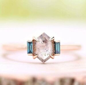 Diamond Ring, Natural Salt And Pepper Shield Cut Engagement Ring