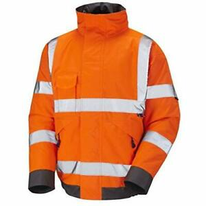 High Visibility Bomber Workwear Security Safety Hooded Padded Waterproof Jacket