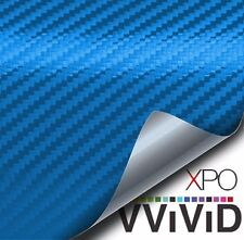 XPO Blue Metallic 3D carbon fiber vinyl car wrap air release vvivid decal film