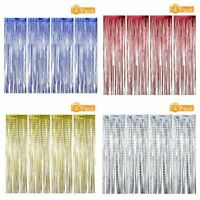 4Pcs 3m Glitter Foil Curtains Metallic Tinsel for Party Wedding Holiday Decor
