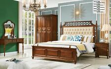 Style Antique Chambre Set 5tlg. Armoire Coiffeuse Lit Chesterfield Cuir