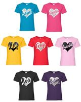 Personalised Glitter Heart T-Shirt 3-13 Years Customised Printed Name Girls Top
