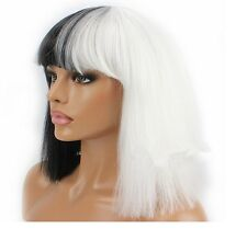 Women Short Straight Full Hair Wigs Half Black and White  Synthetic Wigs+Wig Cap