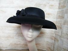 HAT Navy Blue Satin Wedding Races Formal Occasion Mother of the Bride Large Brim