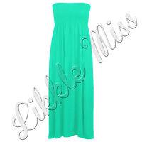 Women's Casual Sheering Beach Long Bandeau Shirred Summer Plus Size Maxi Dress