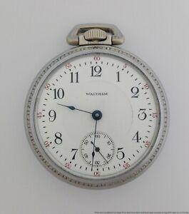 Ticking Waltham PS Bartlett 17j Locomotive Pocket Watch Railroad Style