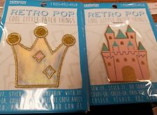 Retro Pop Cool Little Patch Things x 2  (glitter crown and metallic castle)