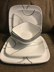 Ten (10) Corelle Simple Lines Dishes - 3 Dinner, 3 Lunch/Salad, 4 Bowls