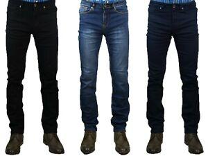 Mens Cavani Denim Jeans Navy Black Stonewash Stretch Material Short Regular Long