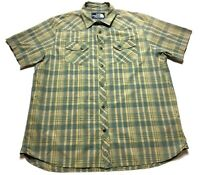 The North Face Mens Beige Plaid Front Pocket Button Front Shirt Size XL