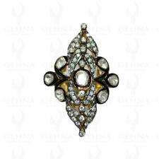 WHITE SAPPHIRE DIAMOND CUT POLKI RING IN 925 STERLING SILVER SR1007