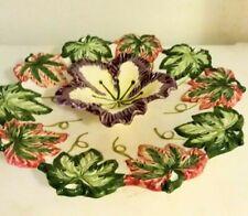 Vintage Floral Leaf Ceramic Chip Dip Bowl