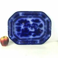 Antique Large Pearl Stone Flow Blue Platter Manilla Asian Pattern Pw & co