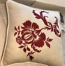 "Savannah Home Rimbaud Embroidered 16"" Square Decorative Pillow Ivory/Tan"