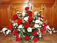 Valentines Day Tombstone Saddle Cemetery Grave Flower Roses Lilies Carnations