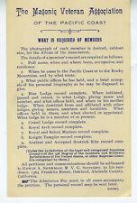 1907 Masonic Veterans Association of Pacific Coast Members Requirement Card