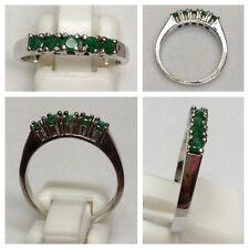 ORO BIANCO ANELLO 585er ORO GIOIELLI ORO ANELLO ORO mit 5 smeraldo