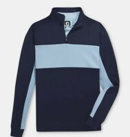 Footjoy Men's Double Jersey Fleece Pieced 1/4 Zip Golf Pullover- Navy/ Lgt blue