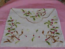 Pochette à lingerie en lin broderie branches de gui doublée soie 41 x 35 cm