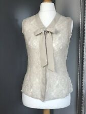 Oasis Womens  Blouse Beige  Lace Sleeveless Pussybow Pretty Summer Size 10