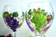 Set of 2 Hand Painted Multi Color Grape Clusters on Wine Goblets
