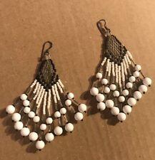 "Dangle Chandelier Black & White Native American Beaded Boho Earrings 4"""