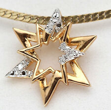 Yellow 18K Gold Sterling Silver Diamond Pendant Star Christmas Stamped Present