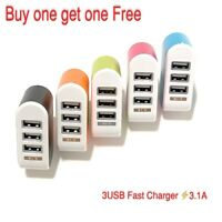 USB 3 Port Wall Charger Home Travel AC Power Adapter  For Universal Cell Phone.