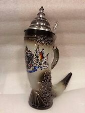 German Beer Stein German Horn with Pewter Lid .5L ONE Mug Made in Germany