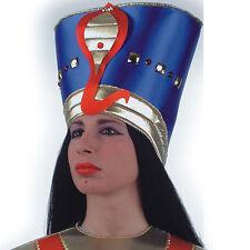 coiffe d'égyptienne, cleopatre pharaonne bleu et or avec serpent 734 deguisement