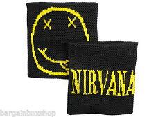 Pair of Unisex Smiley Nirvana Double Sided Wrist Sweatbands Wristbands Gym Bike