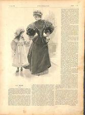 Mode de Paris femme demoiselle filles robe velours capotte-calotte GRAVURE 1894