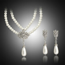 SILVER TONE CREAM GLASS PEARL AND DIAMANTE CENTRE FAN  NECKLACE AND EARRINGS SET