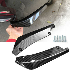 2PCS Car Carbon Fiber Bumper Lip Diffuser Splitter Canard Protector Accessories