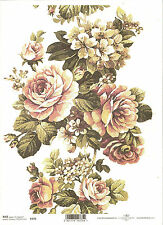 Rice Paper for Decoupage Scrapbooking, Beautiful Big Roses Flowers A4 ITD R379
