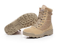 Men Military Tactical Boots Outdoor Combat Army Duty Waterproof Shoes Khaki@