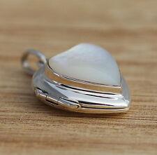 Concha de Plata Esterlina 925 Corazón Colgante Collar Joyería Caja de la foto