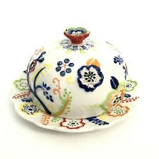 Anthropologie White Blue Red Floral Covered Butter Dish Jewelry Container Happy