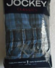 2 Jockey Men'S Woven Tapered Boxers Blue Plaid #9921 Cotton/Poly Xl