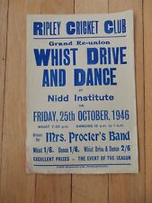 WW2  REUNION  ? POSTER FOR RIPLEY CRICKET CLUB HARROGATE  26 x 38 cm