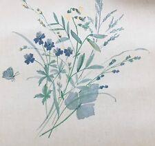 """Vtg Blue Floral Wallpaper Vinyl Coated Wall covering Roll 20.5"""" Pre Pasted Craft"""